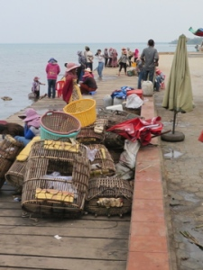 Fishing gear on dock in Kep