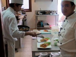 Students learn to prepare delicious meals at Lotus Blanc Training Restaurant.